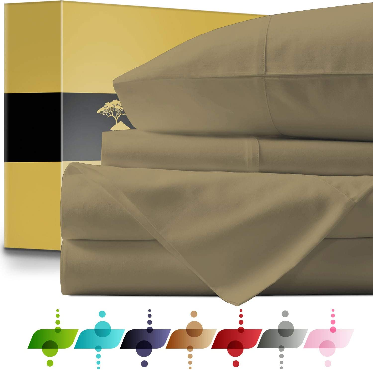 URBANHUT Egyptian Cotton Sheets Set - 1000 Thread Count 100% Cotton Bed Sheets Queen (4 Piece), Luxury Queen Size Sheets, Deep Pocket, Soft & Silky Sateen Weave (Sand, Queen)