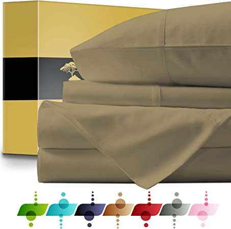 Juego de sábanas de algodón Egipcio (4 Piezas) – Colcha de 1000 Hilos Bolsillo Profundo Premium Calidad Juego de Cama, sábanas de Cama Hotel y Casa colección Suave satén Tejido Regalo: Amazon.es: Hogar