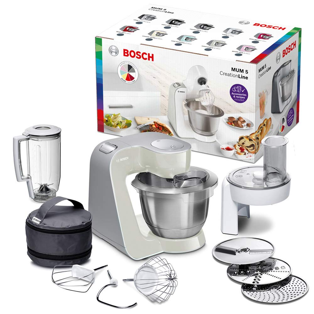 Bosch MUM5 MUM58L20 CreationLine Küchenmaschine (1000 W, 3 Rührwerkzeuge  Edelstahl, spülmaschinenfest, Rührschüssel 3,9 Liter, max Teigmenge 2,7kg,  ...