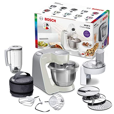 Bosch MUM58L20 CreationLine - Robot de cocina (1000 W, acero inoxidable), 7 accesorios, color gris