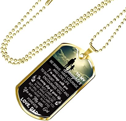 ThisYear to My Daughter Pendant Necklace Love Dad Father Daughter Necklaces Chain Anniversary Birthday Xmas Gifts for Little Girl
