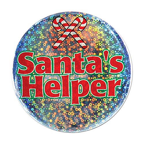 "Beistle Halloween Party Decoration Santa's Helper Button 3 1/2""- Pack of 12"