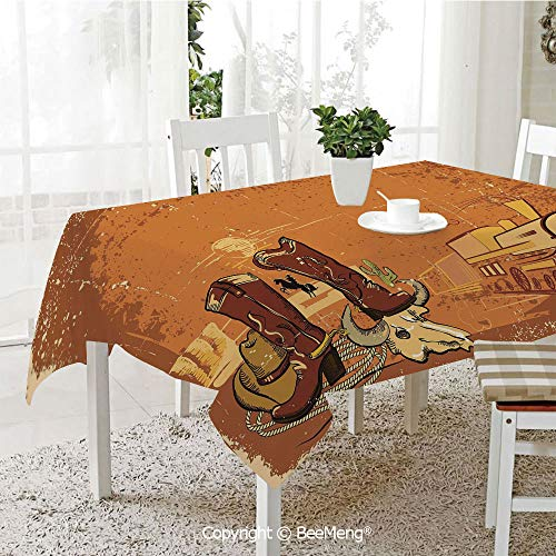 (BeeMeng Dining Kitchen Polyester dust-Proof Table Cover,Western,Grungy Display of Locomotive Traditional Boots Animal Skull Rope Hat Decorative,Dark Orange Brown Yellow,Rectangular,59 x 59 inches)