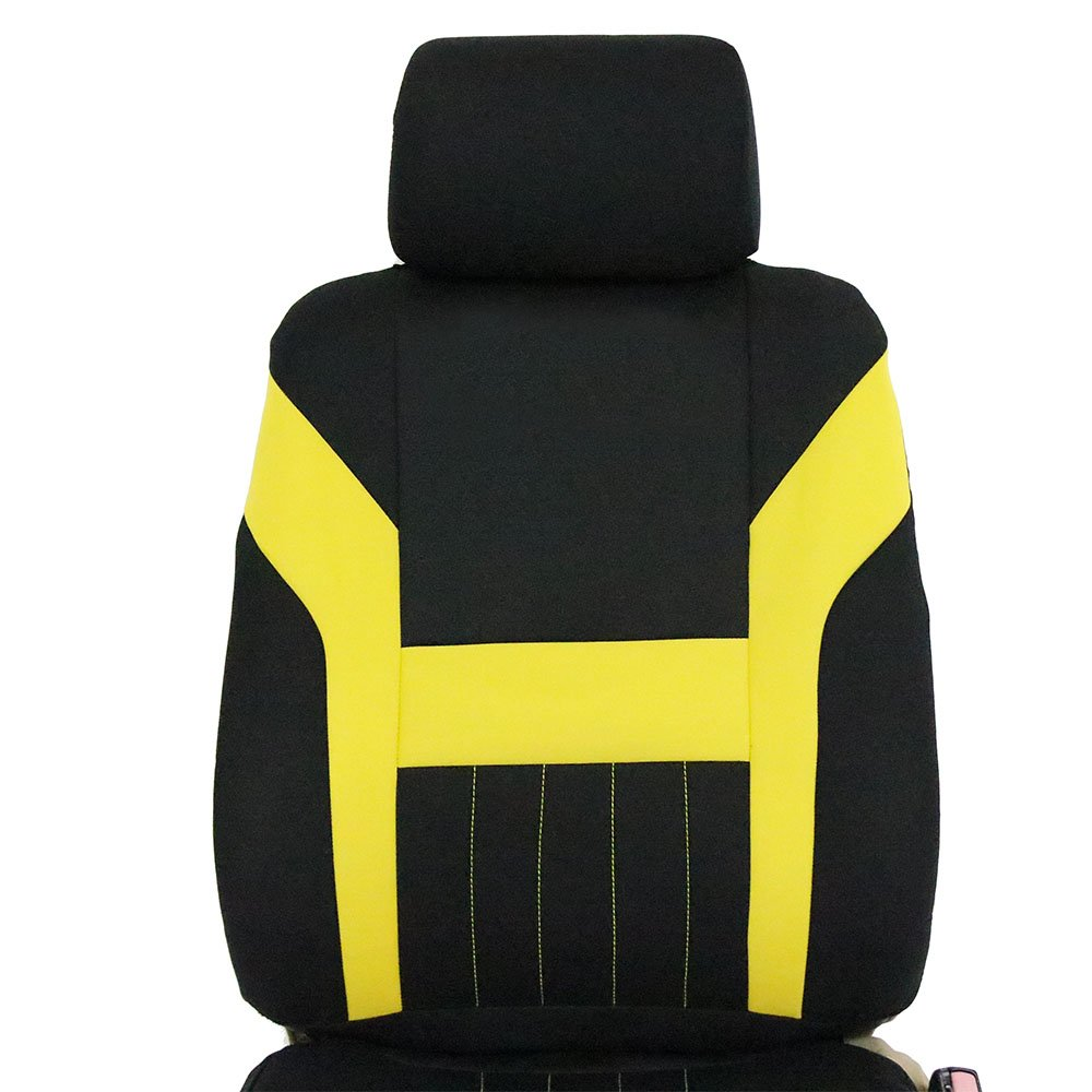 ECCPP Universal Car Seat Cover w/Headrest - 100% Breathable Polyester Stretchy Durable for Most Cars Trucks Vans(Black/Yellow) by ECCPP (Image #6)