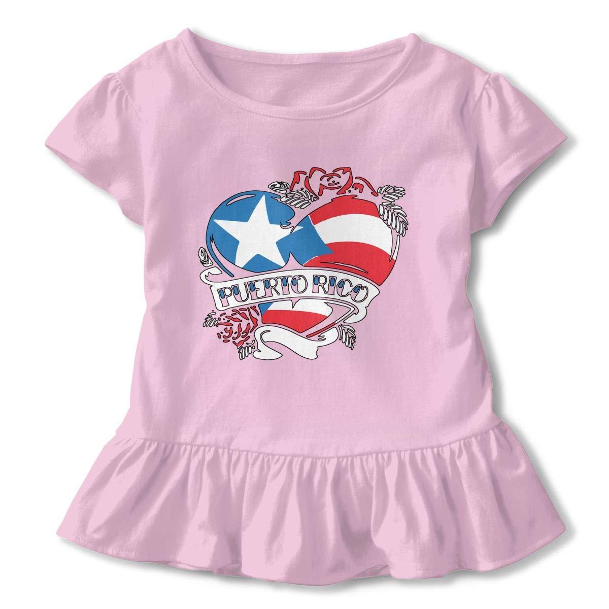 Puerto Rico Tattoo Heart Flag Toddler Girls T Shirt Kids Cotton Short Sleeve Ruffle Tee