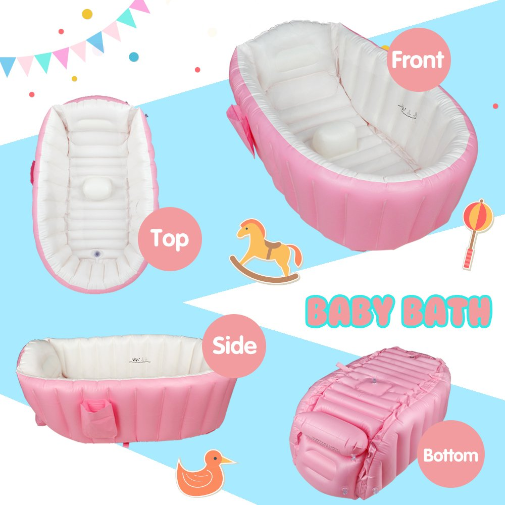 Amazon.com : Baby Bath Tub Inflatable Large Capacity Plastic Air ...