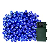 Qedertek 200 LED Battery Powered String Lights - 50ft Fairy Decorative Christmas Lights for Indoor Outdoor - Home - Garden - Patio - Lawn Wedding and Holiday Decorations - Waterproof (Blue)