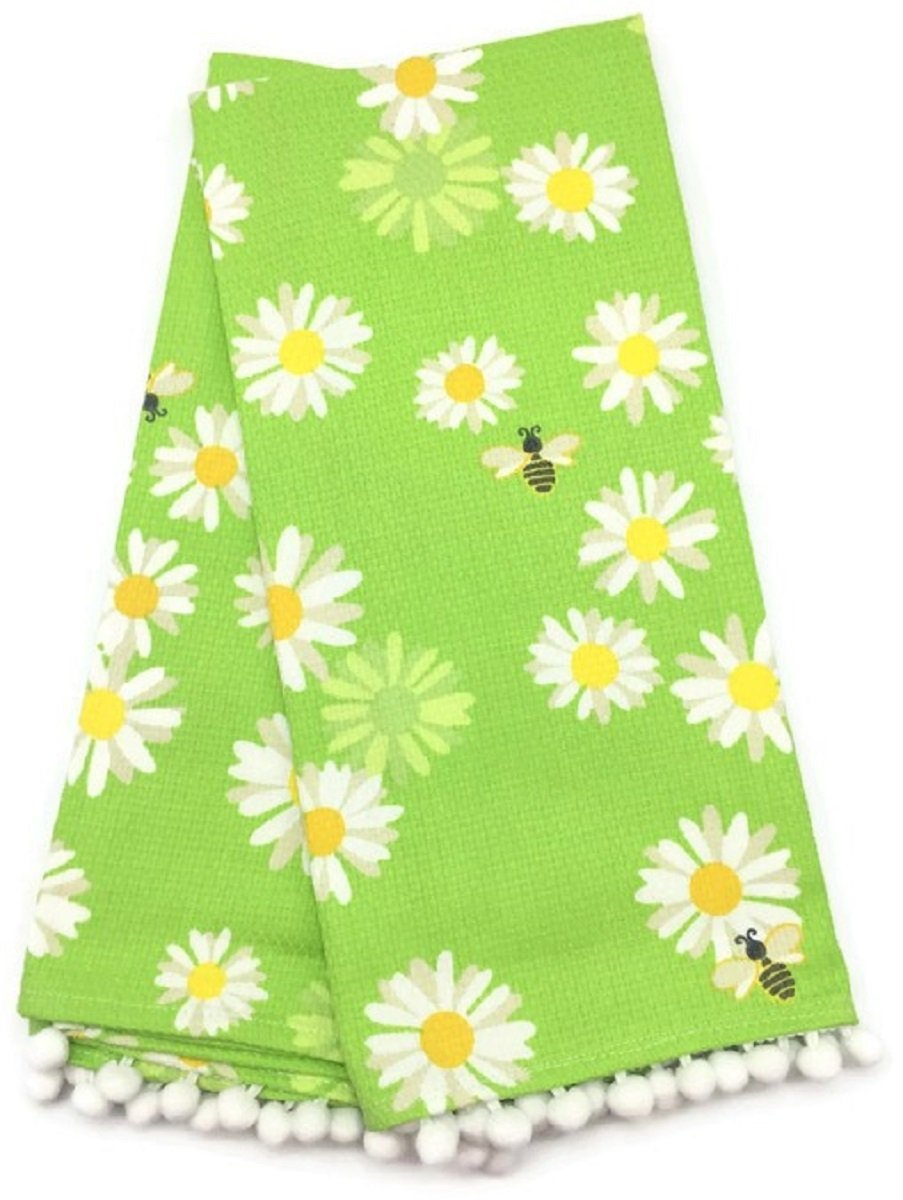TT & Lola Green and White Floral Bumble Bee Pom Pom Kitchen Tea Towels B079DHV5PN