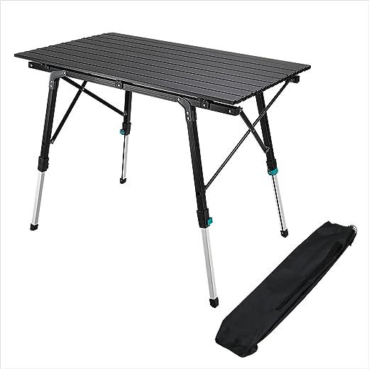 Synlyn Campingtisch Tragbar Klapptisch Faltbar Gartentisch Falttisch aus Aluminium Klappbarer Tisch 90 x 52 x (45-67) cm Höhenverstellbar...
