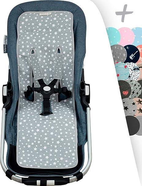 JANABEBE Sitzauflage für gemelar + Schutz des gepolsterten Geschirr für Kinderwagen (White Star)