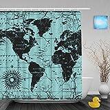 "Vintage World Map Decor Bathroom Shower Curtains Compass Ocean Journeys Voyager Shower Curtain Waterproof Mildew Ployster Fabric 66""x72""Inch"