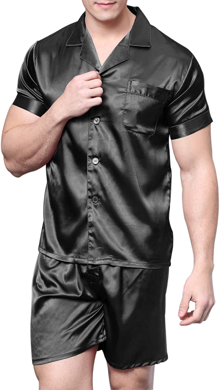 ONE SIZE NEW Men/'s Satin Pajama Sleep Lounge Pants BLACK