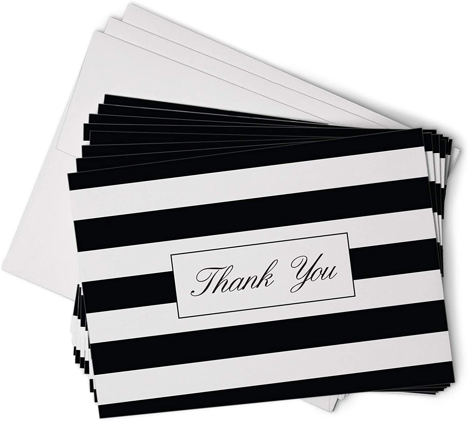 Black and White Stripe Note Card SetMasculine Note CardsBlack and White Water Color LinesWater Color Thank You NotesStriped Notes