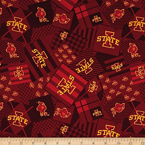 NCAA Iowa State Patch Allover Red Fabric by The Yard