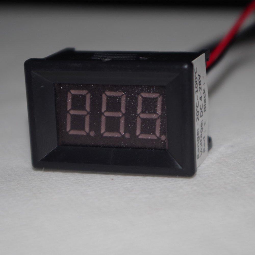 55 to 125℃ Temperature Meter Gauge Panel DC 7-30V 12V//24V Temp Tester Monitor with Bright Green Digital Display and DS18B20 Waterproof Sensor Probe DYKB LED Digital