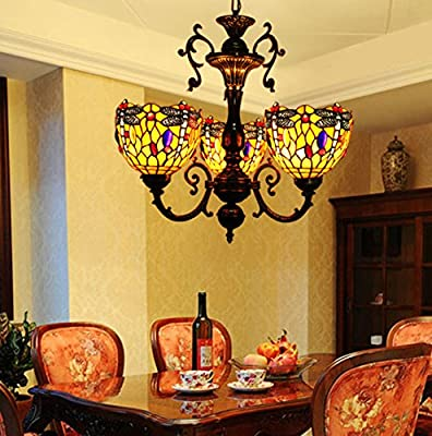 Makenier Vintage Classic Art Tiffany Style Stained Glass 3 Arms Dragonfly Chandelier, 7 Inches Lampshade