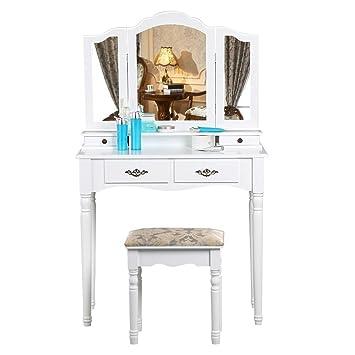 Popamazing Shabby Chic White Dressing Table Set 3 Way Tri Fold