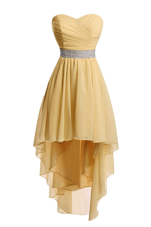 Uryouthstyle Hi-lo Homecoming Dresses Strapless Shinining Belts Bridesmaid Dresses