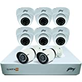 Godrej Security Solutions See Thru 1080P 8 Channel 6 Dome 2 Bullet Cameras HD Full CCTV Camera Kit (White)