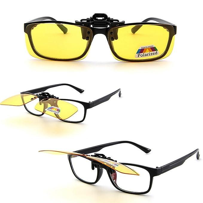 DS-VIQI UV400 polarisierten Gläsern Objektiv kann leicht geschlagen fit Brillen und Lesebrille, Verhindern schädlichen Strahlen, schützen Sie Ihre Augen (Gelb, M)
