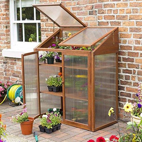 Rowlinson HWGROWST2 Hardwood Mini Greenhouse - Brown