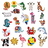 22pcs Lovely Animal Appliques for Clothing Iron on or Sew on Embroidered patches Motif Applique