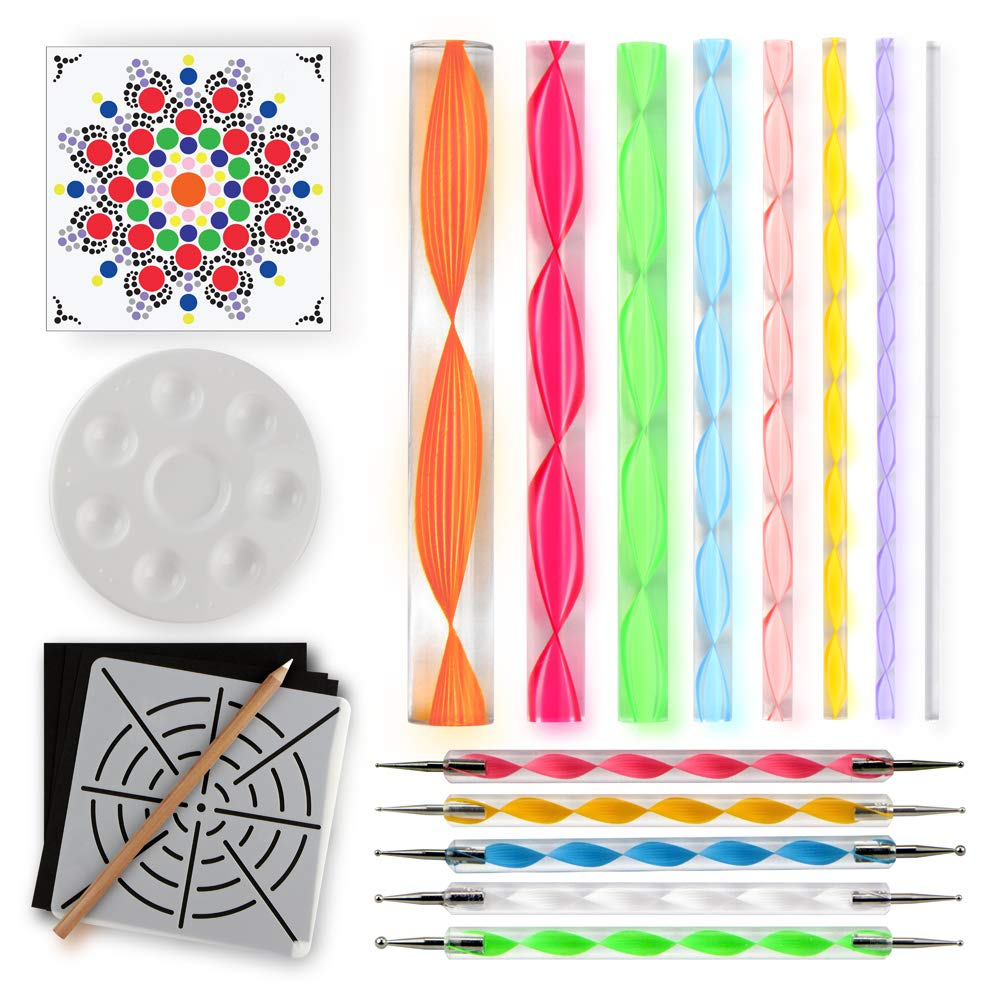 Mandala Dotting Tools for Painting Rocks – Plus Stencil, White Pencil, Paint Tray, Pattern Freedom Peak 4336952677