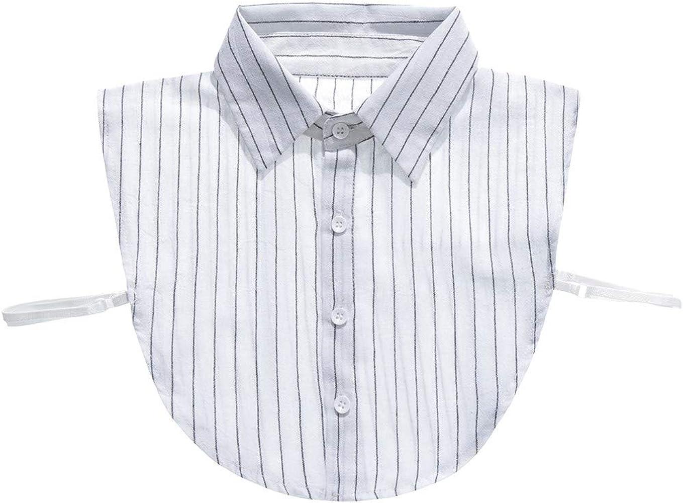 Lenfesh Fake Collar, Negro Blanco Mujeres Moda Fake Collar Desmontable Cuello Blusa Medias Camisas Cuello Camisa de Mujer Cuello Falso a Rayas: Amazon.es: Ropa y accesorios