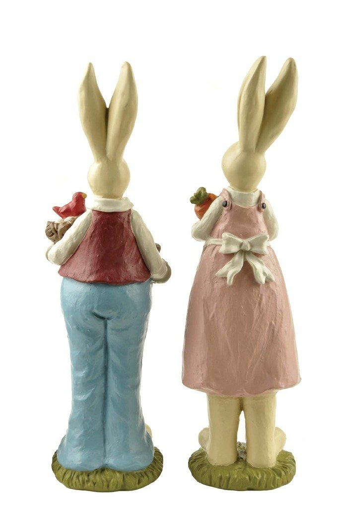 9 H Hand Painted Set of 2 Fathers Day Gifts bunny decor, Easter Decoration Rabbit