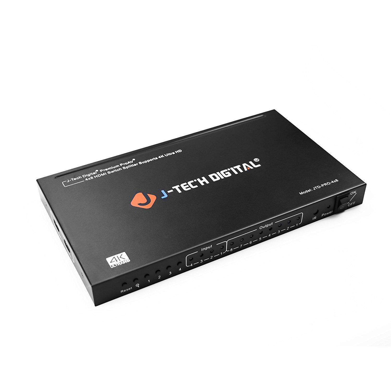 J-Tech Digital JTD-PRO-4x8 ProAV Most Advanced 4 Ports HDMI Inputs 8 Ports HDMI Outputs 4x8 Powered HDMI Switch and HDMI Splitter (Not Matrix)
