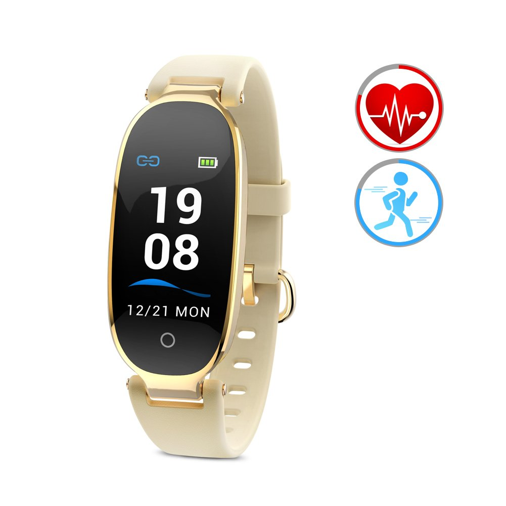 Fitness Tracker Heart Rate Monitor Activity Tracker for Women Pedometer with Calories Sleep Monitor Bluetooth IP67Waterproof Smart Watch Compatible with Android and iOS Smartphone(Color Screen,Gold)