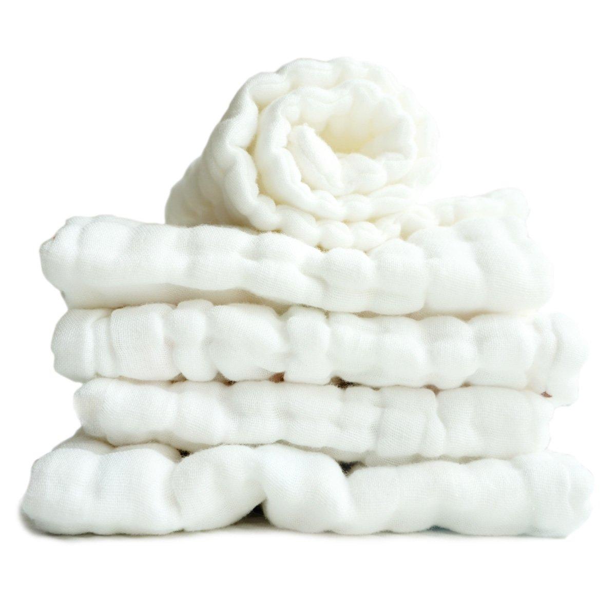 FYGOOD Lote 5pcs recién nacido Cuelgue pañuelo de algodón suave del bebé con 10 capas de gasa 46 * 17cm