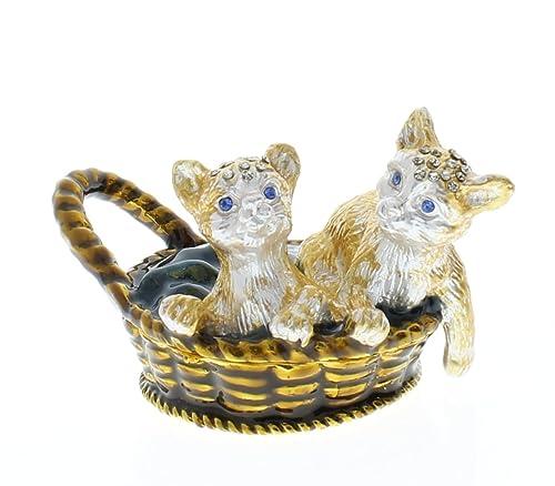 Dos gatos, diseño de gato en una cesta de mimbre - Joyero, diseño con brillantes: Amazon.es: Joyería