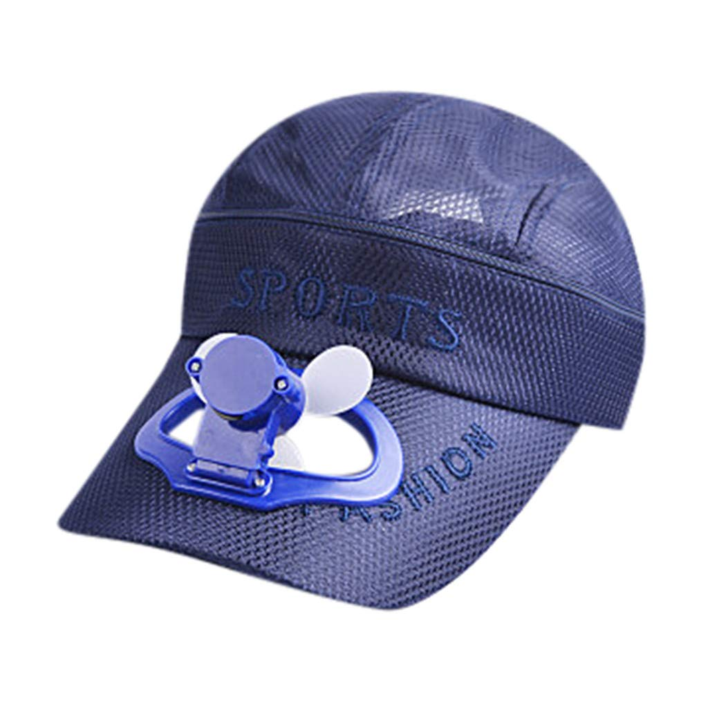 TIFENNY 2019 New Fan Cap Summer Fan Cooling Baseball Cap Hat USB Charging Breathable Shade Sunscreen Hat Blue