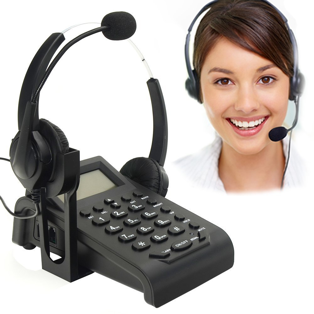 BizoeRade Call Center Corded Phone Dialpad Landline Telephones with Double Earphones Noise Cancellation Headset, PC Recording Function ideal for Offices Works and Home Jobs Variation