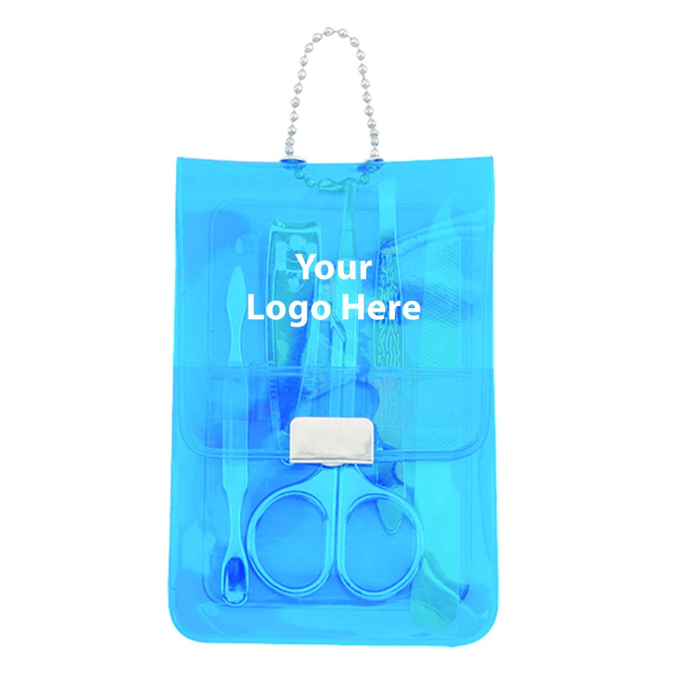 Translucent 5 Piece Manicure Pouch - 150 Quantity - $2.25 Each - PROMOTIONAL PRODUCT / BULK / BRANDED with YOUR LOGO / CUSTOMIZED