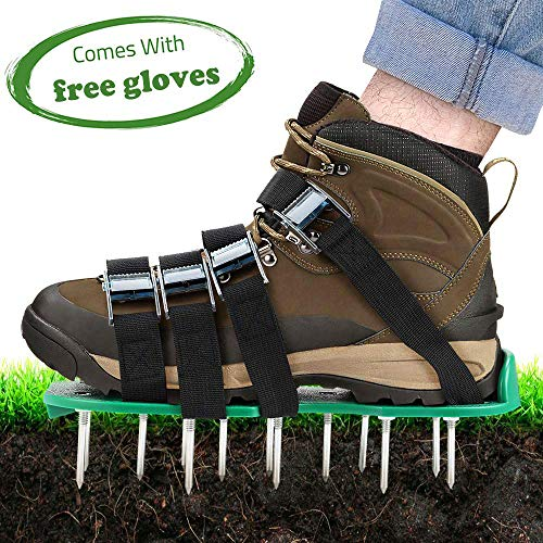 TONBUX Lawn Aerator Shoes 4 Adjustable Straps Heavy Duty Spiked Sandals Shoes with Metal Buckles One Size Fits All Spikes Shoes for Aerating Lawn Soil Yard Grass