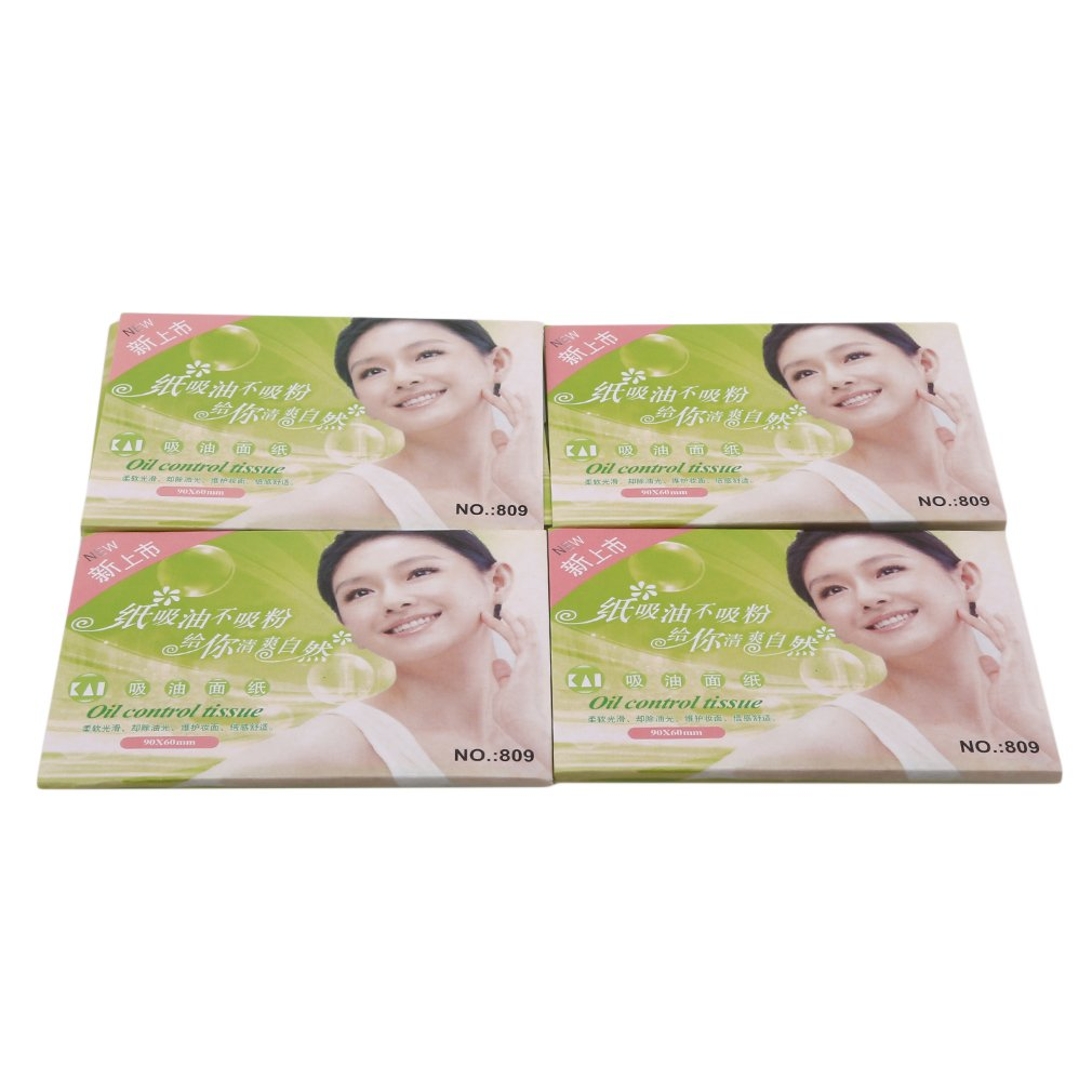 VWH 4 Pack Powerful Makeup Cleaning Oil Absorbing Face Paper Tissue Papers Oil Blotting Sheets Facial Cleaner Tools (Green)