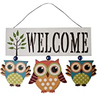 CLISPEED Wooden Sign Welcome Owl Wall Plaque Hanging Board Wood Door Wall Hanging Hanging Decoration for Shop Coffee Shop Home (White)