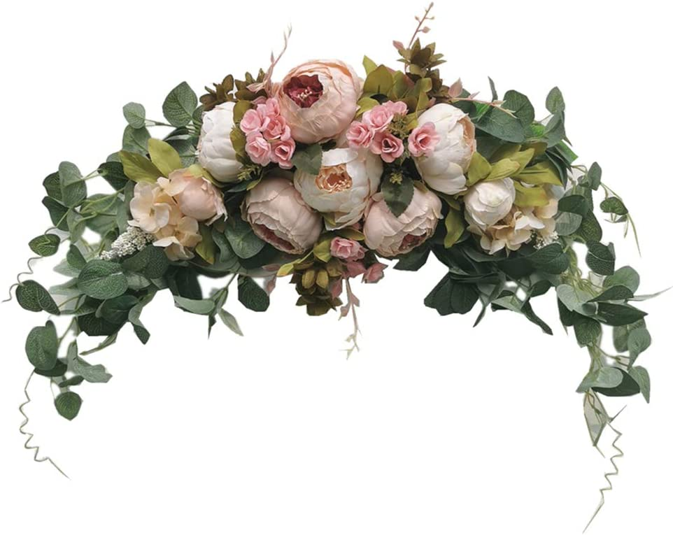 Wedding Arch Flowers, 30 Inch Rustic Artificial Floral Swag for Lintel, Green Leaves Rose Peony Sunflowers Door Wreath Home Decoration