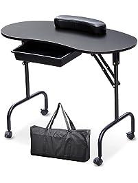 Yaheetech Manicure Nail Table Station - Portable & Foldable Nails Desk Spa Beauty Salon Technician Equipment w/Client...