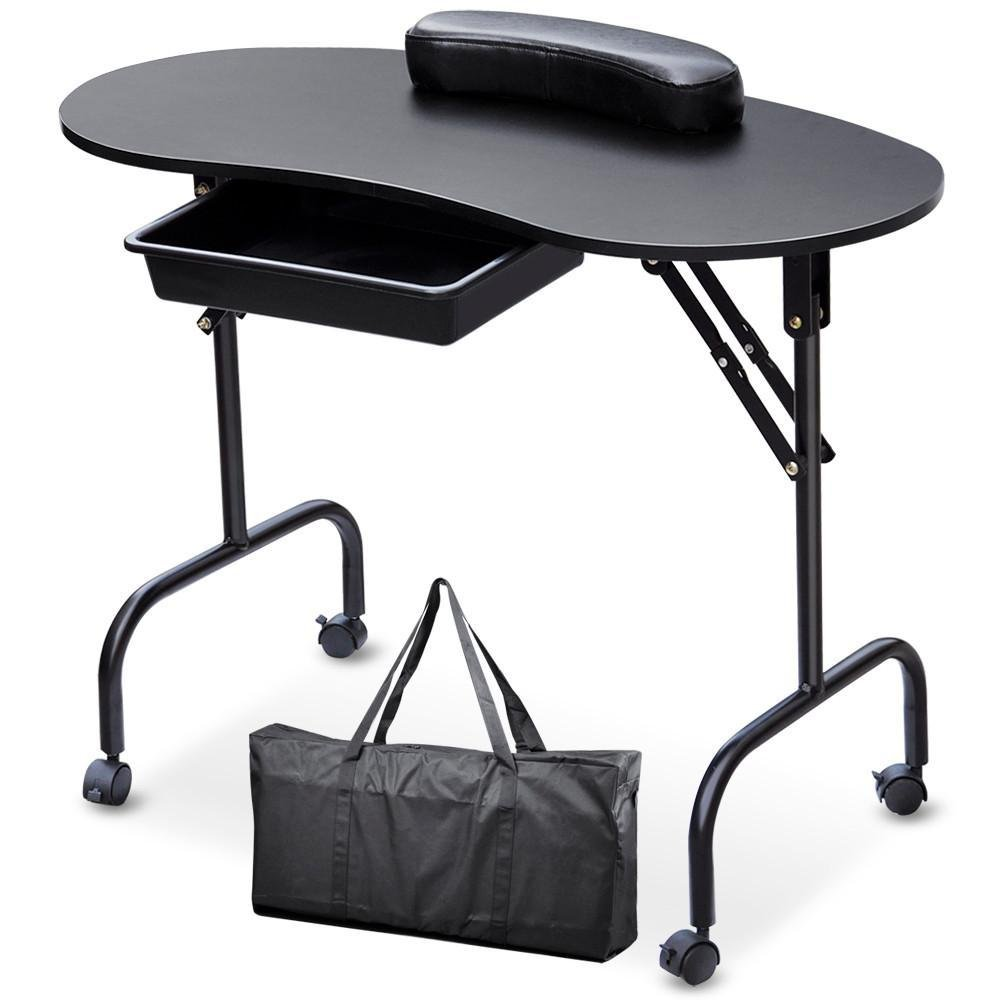 Monumart Portable Manicure Table Nail Technician Art Desk Workstation With Drawer,Carry Bag and Wrist Rest Black