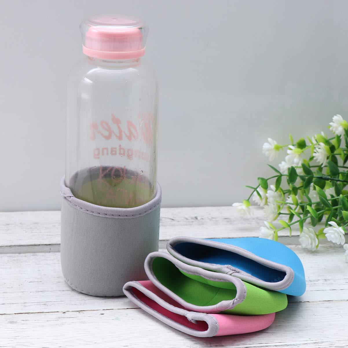 Random Color Hemoton Bottle Sleeve 10 pcs Bottle Bags Cup Holder Glass Covers Neoprene Reusable Insulated Pot-bellied Bottle Coat for Beach Camping Fishing 400ml