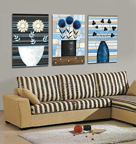 Abstarct Flores Arte Pintura Impresiones de Giclee de la lona, ??listo para colgar, decoracion casera moderna del arte de la pared Juego de 3 # 05-137