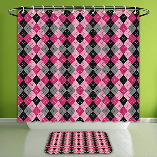- Waterproof Shower Curtain and Bath Rug Set Abstract Argyle Motif with Diamonds and Lozenges Infinite Symmetric Stripes Image Baby Pink Bla Bath Curtain and Doormat Suit for Bathroom 66