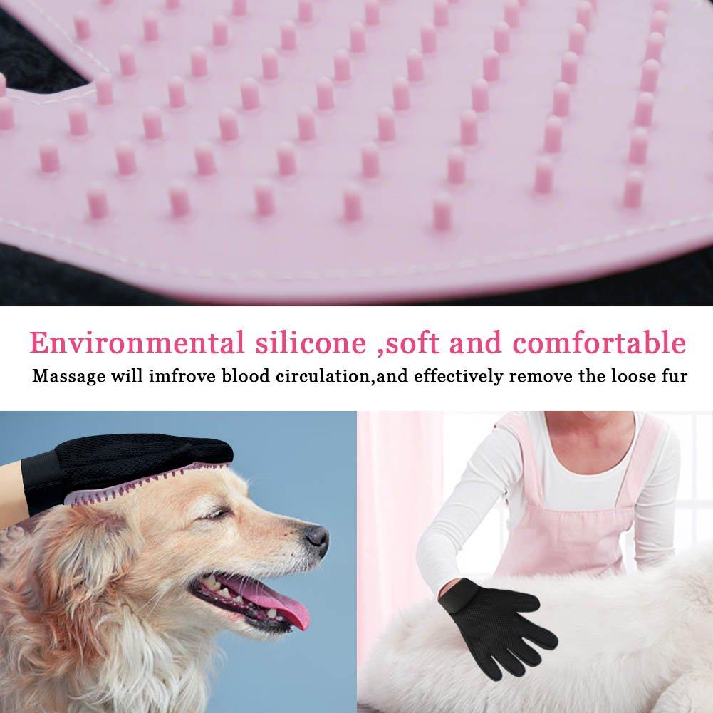 2/Pack gatos mascota Peine Cepillo de masaje guante de ba/ño para largo y de pelo corto perros izquierda y derecha, azul Freefa cuidado mascota guantes conejos caballos