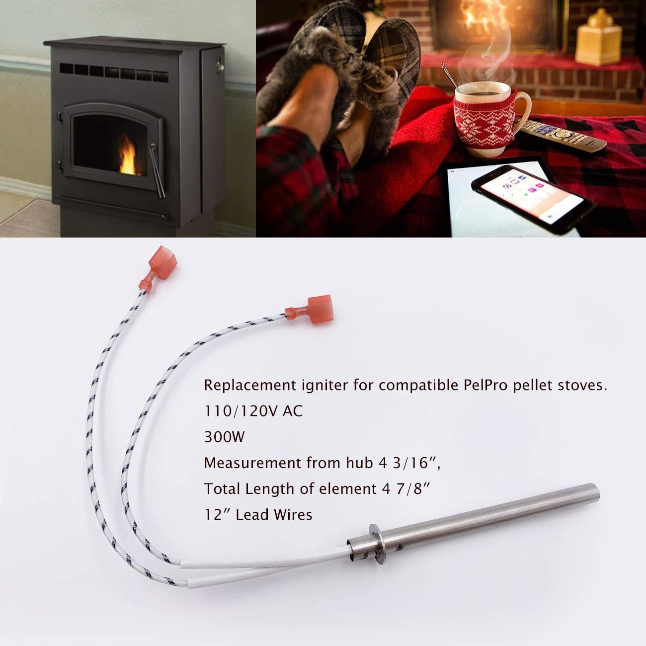 Replacement Ignitors 300W Compatible with Pelpro Pellet Stove Igniter /& Pleasant Hearth Pellet Stoves Ignitor for #SRV7000-660-AMP