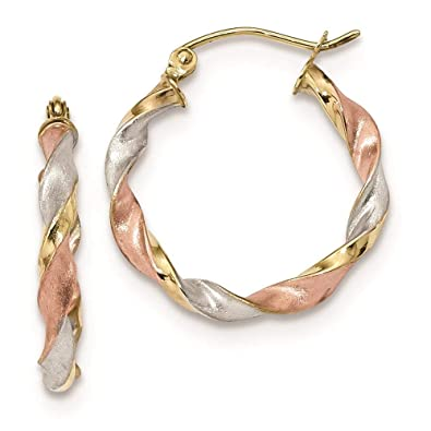 c03b8f456012c Amazon.com: 10K Tri Color Gold 2.8 MM Satin Twisted Hoop Earrings ...