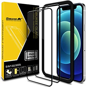 [2PACK] GOBUKEE Screen Protector for iPhone 12 Pro Max (6.7 Inch) [Ultra Clear Tempered Glass] 9H Hardness Anti-Shock Compatible with iPhone12 Pro Max