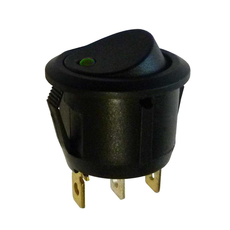 Rund beleuchtet Spst Wippschalter mit 230 V AC grü n Light Cut Out: D: 20 mm SCI